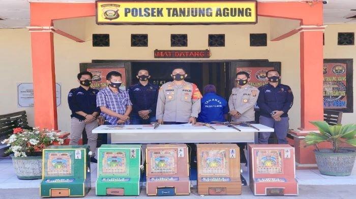 Tim LEBAH Polsek Tanjung Agung Muara Enim, Amankan IRT Bersama Lima Mesin Jackpot