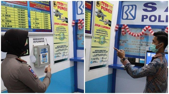Tim Ombudsman RI Perwakilan Sumsel Agung Pratama melihat dan berkomunikasi dengan petugas di bagian SIM Polres Muara Enim.