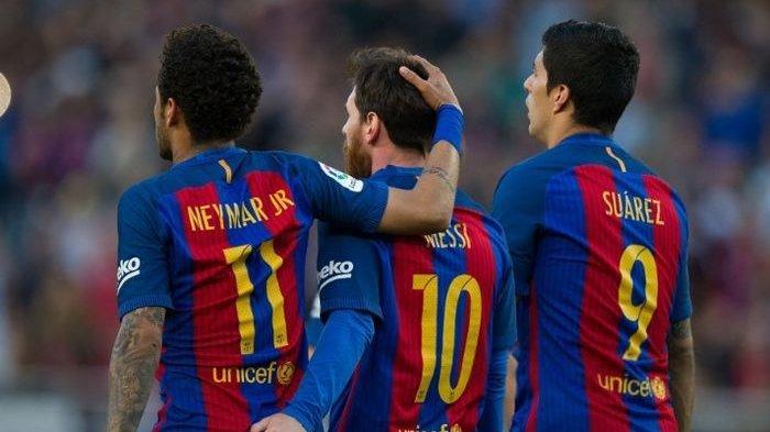 Trio MSN Barcelona yang diisi oleh Lionel Messi, Luis Suarez, dan Neymar Jr