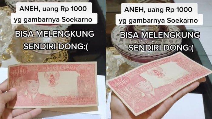 Capture TikTok @rinagustiana_. Uang kuno bergambar Soekarno yang bisa melengkung sendiri ditawar hingga Rp 5 miliar.