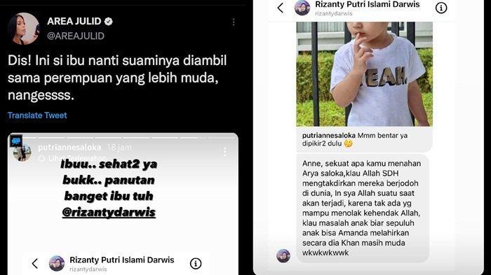 Unggahan akun AREA JULID perihal unggahan Instagram Putri Anne, Sabtu (18/9/2021)