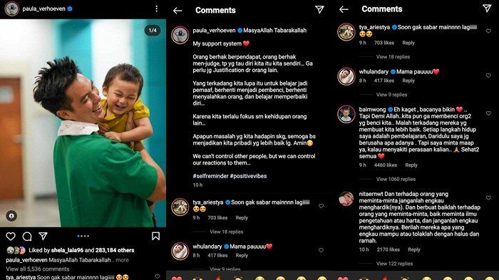 Unggahan Paula Verhoeven bela Baim Wong dan komentar permintaan maaf sang suami, Selasa (12/10/2021)