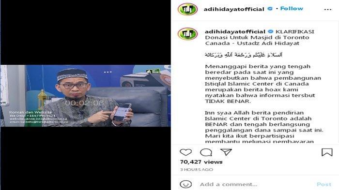 Klarifikasi Ustaz Adi Hidayat
