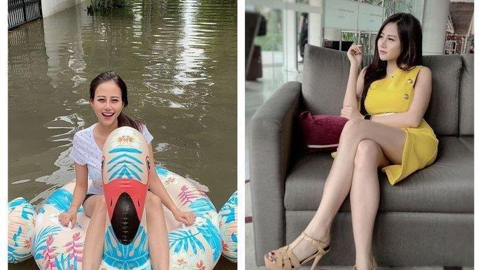 Viral Janda Cantik Main Air Sambil Naik Ban Bebek saat Banjir Jakarta, Ternyata Model, Ini Sosoknya