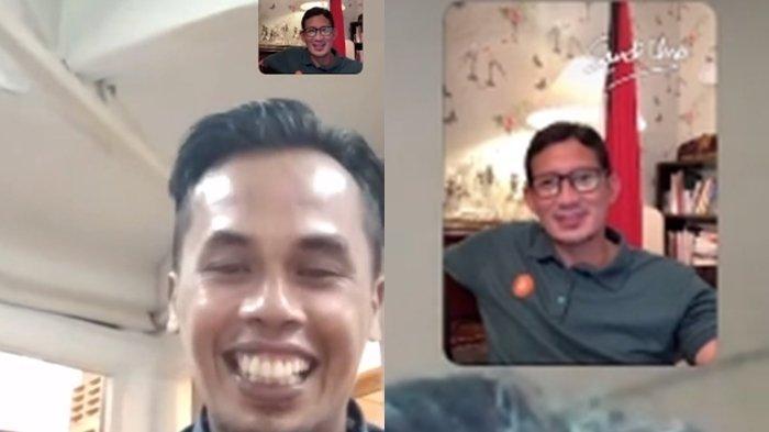 Wajah Gugup Lord Adi Divideo Call Menteri Sandiaga Uno, Malu tak Bisa Jawab saat Dapat Tawaran Ini