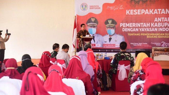 Penandatangan MOU sekaligus Silaturrahim dengan Yayasan Indonesia Brain Camp binaan TNI Angkatan Laut Palembang, Pendopoan Rumah Dinas Banyuasin, Kamis (27/05/2021)