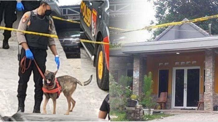 Polisi menurunkan anjing pelacak atau K-9 untuk melacak pelaku kasus kematian ibu dan anak di Subang.