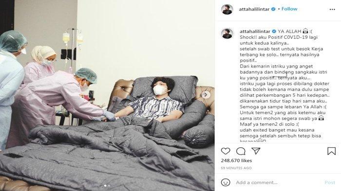 Atta Halilintar terbaring di tempat tidur saat di cek Covid-19