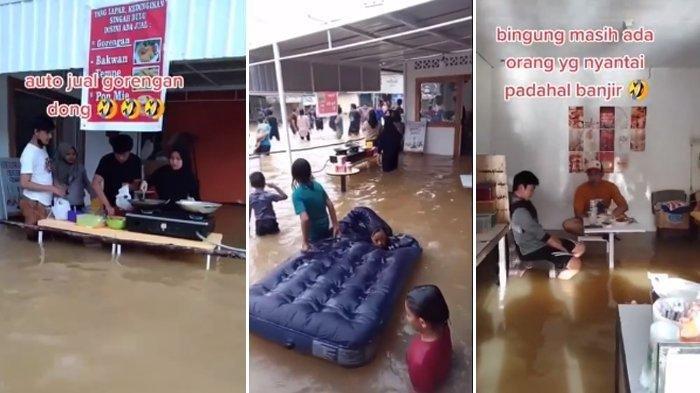 Viral Aksi Nyeleneh Warga Nikmati Banjir bak Objek Wisata, Kasur jadi Kapal hingga Nekat Buka Warung