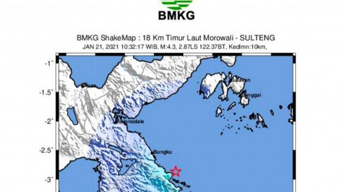 Gempa Bermagnitudo 4,3 Guncang Lafeu Morowali, BMKG: Tidak Berpotensi Tsunami