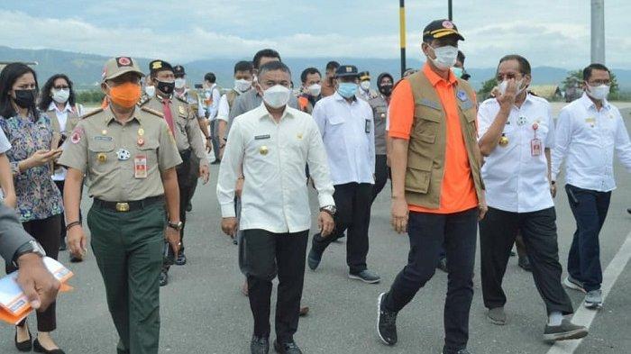 Kepala BNPB Doni Monardo tiba di Bandara Mutiara Sis Aljufri Palu untuk mengecek proses rehab rekon pasca bencana Sulawesi Tengah, Rabu (31/3/2021).
