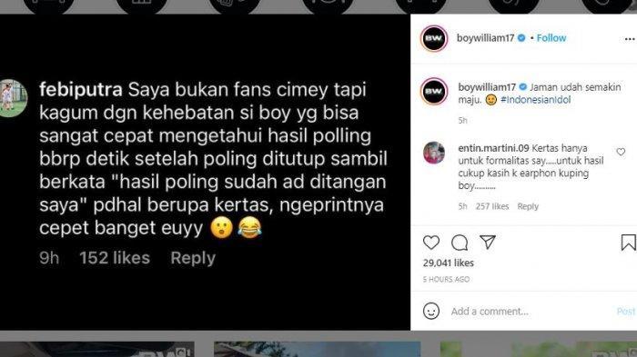 Presenter Boy William memberikan tanggapan soal komentar warganet yang mempertanyakan tereliminasinya Melisa atau Cimey dari Indonesian Idol 2021.