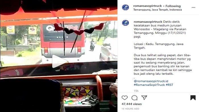 2 Bus di Temanggung Adu Balap, Nyaris Tabrak Sepeda Motor yang Tengah Menyebrang