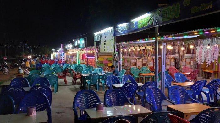 Sebanyak 114 cafe di area Hutan Kota, Jl Jabal Nur, Kelurahan Talise, Kecamatan Palu Timur, Kota Palu, Sulawesi Tengah, sepi pengunjung di Hari Valentine, Minggu (14/2/2021) malam.