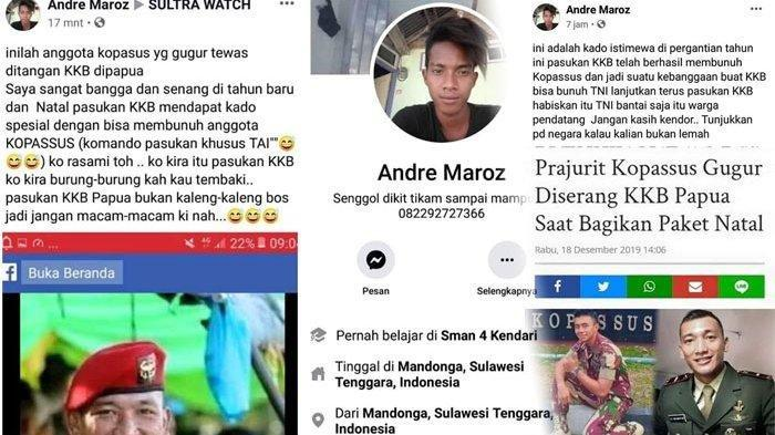 Seorang Pria Tulis Postingan di Facebook Berisi Hinaan Terhadap TNI yang Gugur di Papua