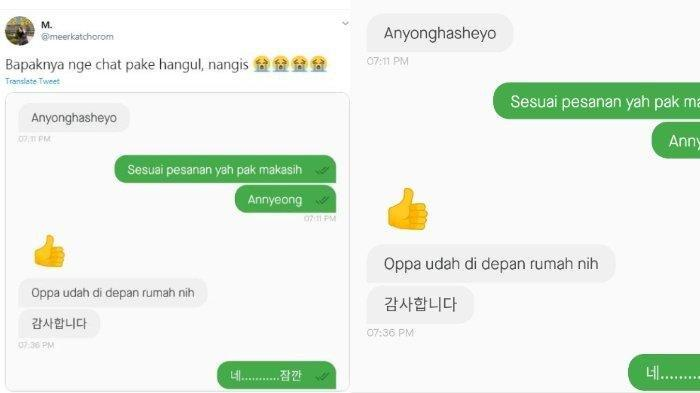 Pengakuan Pelanggan soal Viralnya Driver Ojol yang Balas Pesan dengan Huruf Hangul