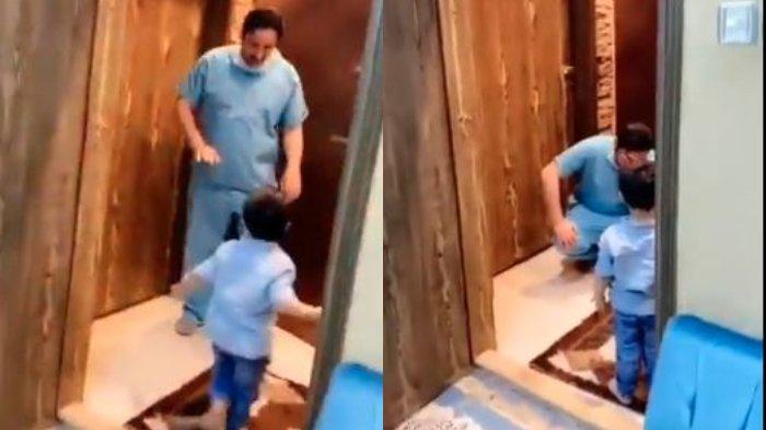 Viral Momen Haru Dokter yang Tolak Pelukan demi Cegah Virus Corona, Tertunduk Lesu di Depan Putranya
