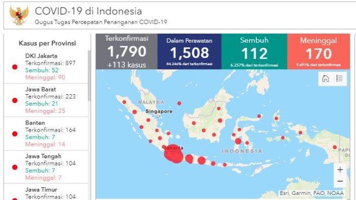 Daftar Wilayah Sebaran Corona di Indonesia Kamis (2/4/2020): 5 Provinsi Sudah Mencapai Ratusan Kasus