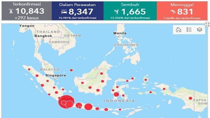 Daftar Wilayah Sebaran Corona di Indonesia Sabtu (2/5/2020) Tambah 11 Kasus Baru di Sulawesi Tengah