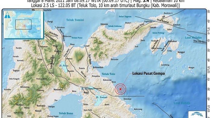 INFO BMKG: Gempa Magnitudo 3,4 Guncang Bungku Morowali