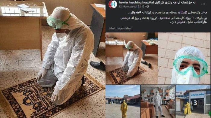 Potret Petugas Medis di Irak Rawat Pasien Virus Corona, Beribadah Salat tetap Pakai Hazmat Lengkap