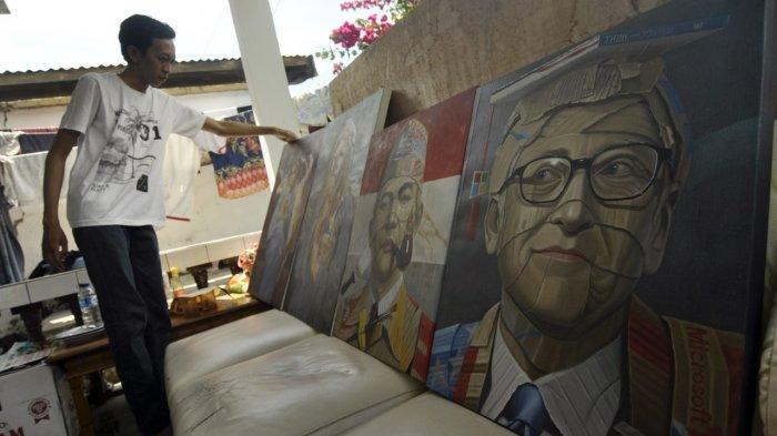 Presiden Jokowi sampai Sri Mulyani Koleksi Lukisan Kardus Karya Pelukis asal Palu