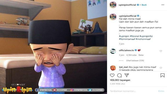 Instagram Ofisial Upin & Upin Unggah Video Klarifikasi Permintaan Maaf Fizi, MNC TV Beri Komentar