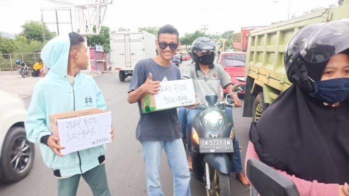 Bantu Korban Gempa di Sulbar, Warga Kota Palu Galang Dana di Jalan