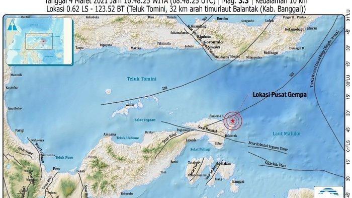 INFO BMKG: Gempa 3,3 Mag Guncang Balantak Banggai
