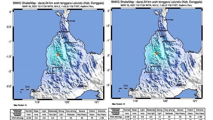 Donggala Diguncang Gempa 4,2 M, Dirasakan sampai Dolo dan Kulawi Sigi
