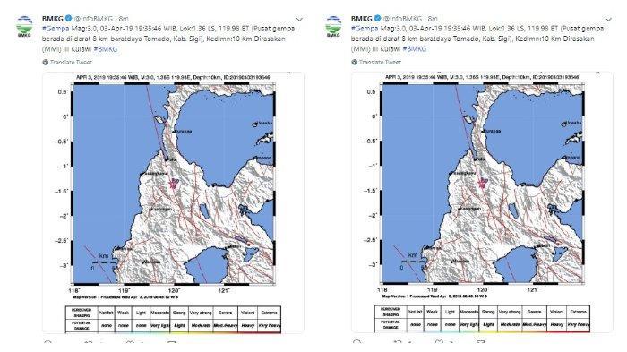 Gempa Guncang Kabupaten Sigi Sulawesi Tengah dengan Kekuatan 3,0 SR, Rabu (3/4/2019) Pukul 19:35 WIB