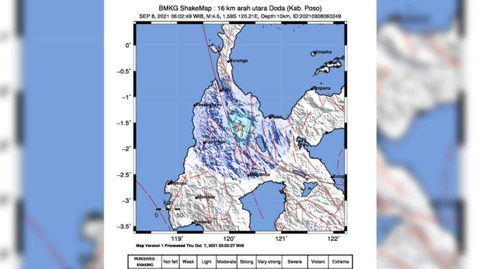 Gempa Tektonik 4,5 Magnitudo Guncang Doda Poso, Terasa Hingga Lawua Sigi