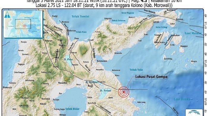 Gempa 4,3 Magnitudo Guncang Morowali, BMKG: Getaran Dirasakan di Bahodopi dan Bungku Tengah