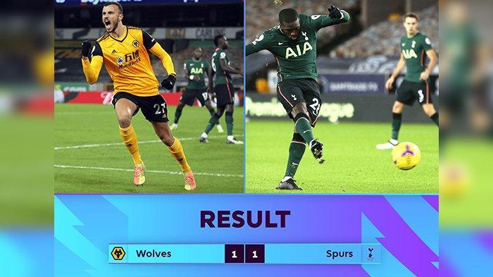Hasil Liga Inggris - Main Imbang Lawan Wolves, Spurs Raih Rentetan Hasil 4 Laga Tanpa Kemenangan