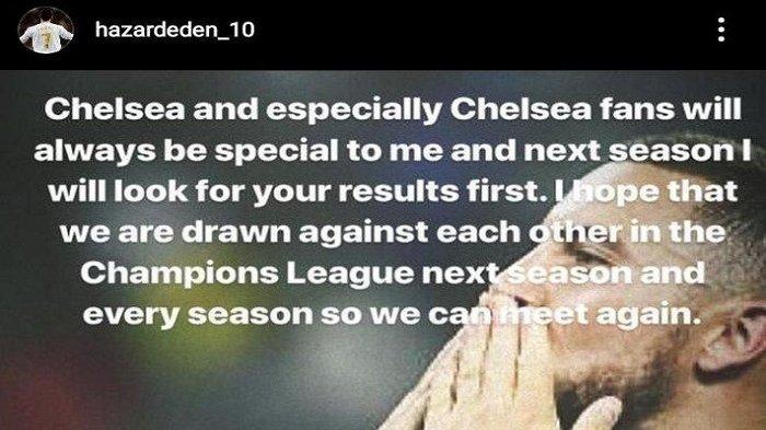 Postingan Eden Hazard beberapa saat setelah kepindahannya menuju Real Madrid tahun 2019 silam.