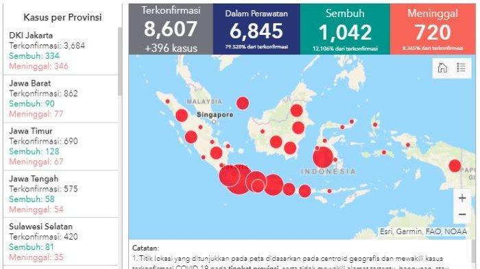 Daftar Wilayah Sebaran Corona di Indonesia Sabtu (25/4/2020): Di Jakarta 346 Pasien Meninggal Dunia