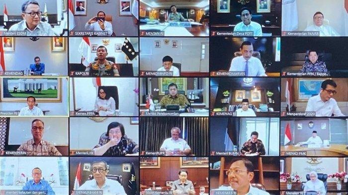 Jokowi Pimpin Rapat Bersama Para Menteri Secara Online, Bahas Percepatan Ekonomi Hadapi Virus Corona
