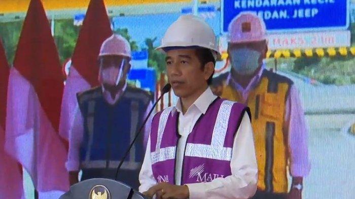 Presiden Jokowi meresmikan tol Manado-Bitung ruas Manado-Danowudu secara virtual, Selasa (29/9/2020).