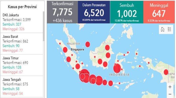 Daftar Wilayah Sebaran Corona di Indonesia Jumat (24/4/2020) Hampir 4 Ribu Kasus Covid-19 di Jakarta