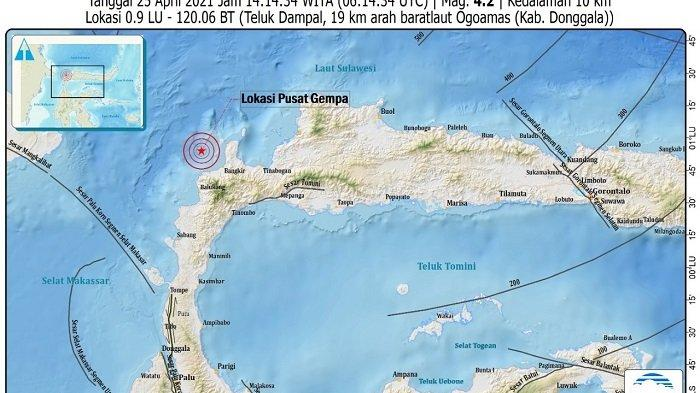 Kabupaten Donggala diguncang gempa 4,2 Magnitudo pukul14.14 WITA.