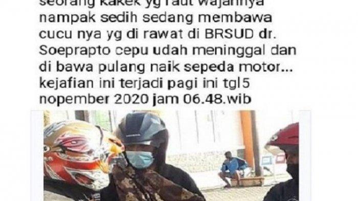 Viral Foto Kakek di Blora Bawa Jenazah Cucunya dengan Sepeda Motor, Ini Kata Pihak RSUD