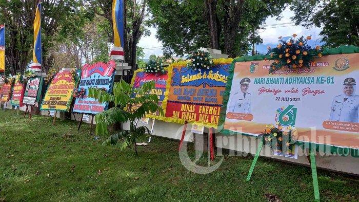 Hari Bhakti Adhyaksa ke-61, 43 Karangan Bunga Hiasi Halaman Gedung Kejati Sulteng
