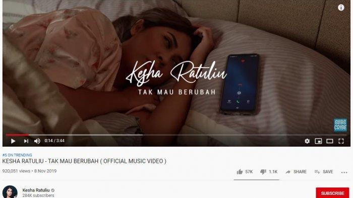 Lirik Lagu 'Tak Mau Berubah' Milik Kesha Ratuliu yang Jadi Trending Youtube