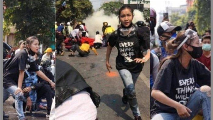 Foto Kyal Sin terlibat demo di Myanmar. Kyal Sin merupakan seorang gadis 19 tahun yang tewas dalam sebuah aksi damai menentang kudeta Myanmar. Gadis itu juga dikenal dengan nama lain Angel.