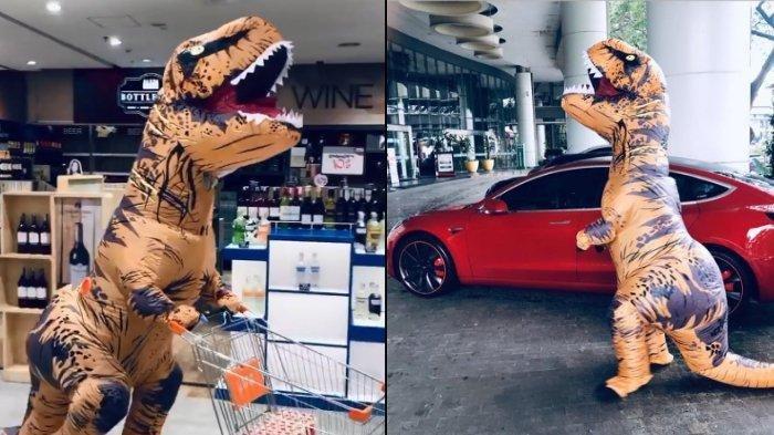 Viral Video Orang Belanja Pakai Kostum T-Rex dan Naik Mobil Tesla, Warganet: ''T-Rex Sultan''