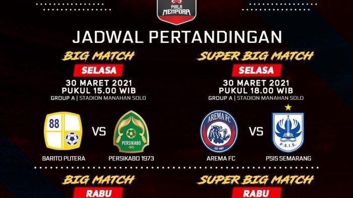 Arema FC vs PSIS Semarang Piala Menpora 2021 Live di Indosiar dan Vidio, Ini Link Streamingnya