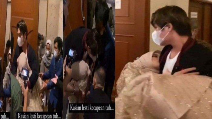 Lesti Kejora dikabarkan jatuh pingsan di tengah acara hajatan pernikahan. Lesti sendiri digotong sang suami,RizkyBillarke lobby untuk disadarkan.