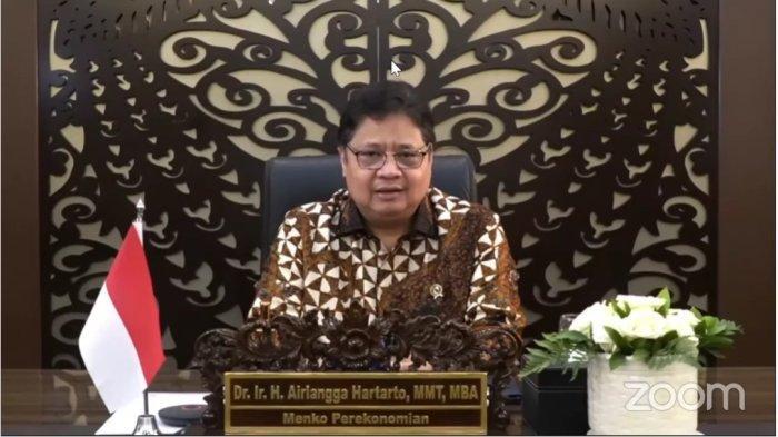 Menko Airlangga dalam Forum Dialog Sinar Mas – Economic Outlook 2022 bertajuk Sinergi Korporasi dan Pemerintah dalam Pemulihan Ekonomi Nasional secara virtual, Rabu (6/10/2021).