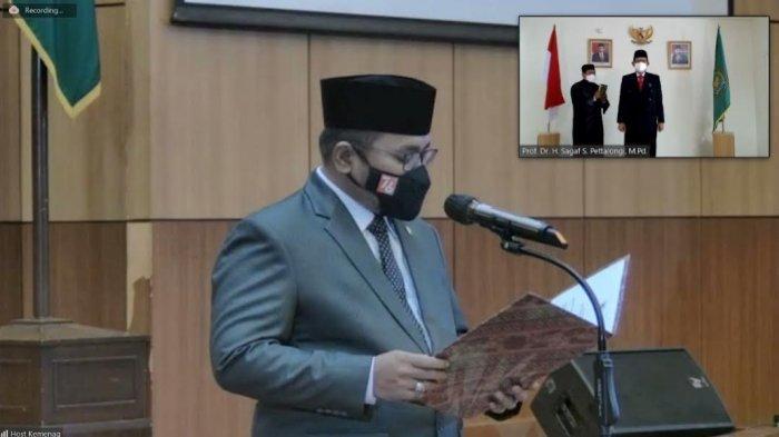 Lantik Rektor UIN Datokarama Palu, Menag Minta Prof Sagaf Dengarkan Saran dan Kritik
