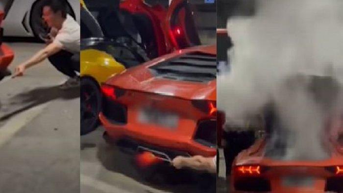 Mobil Lamborghini Aventador keluarkan asap putih setelah dipakai untuk bakal sate.